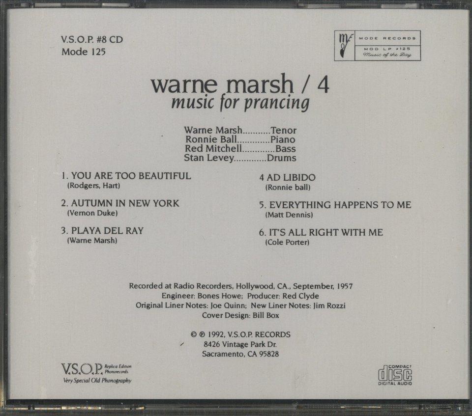 WARNE MARSH QUARTET WARNE MARSH 画像