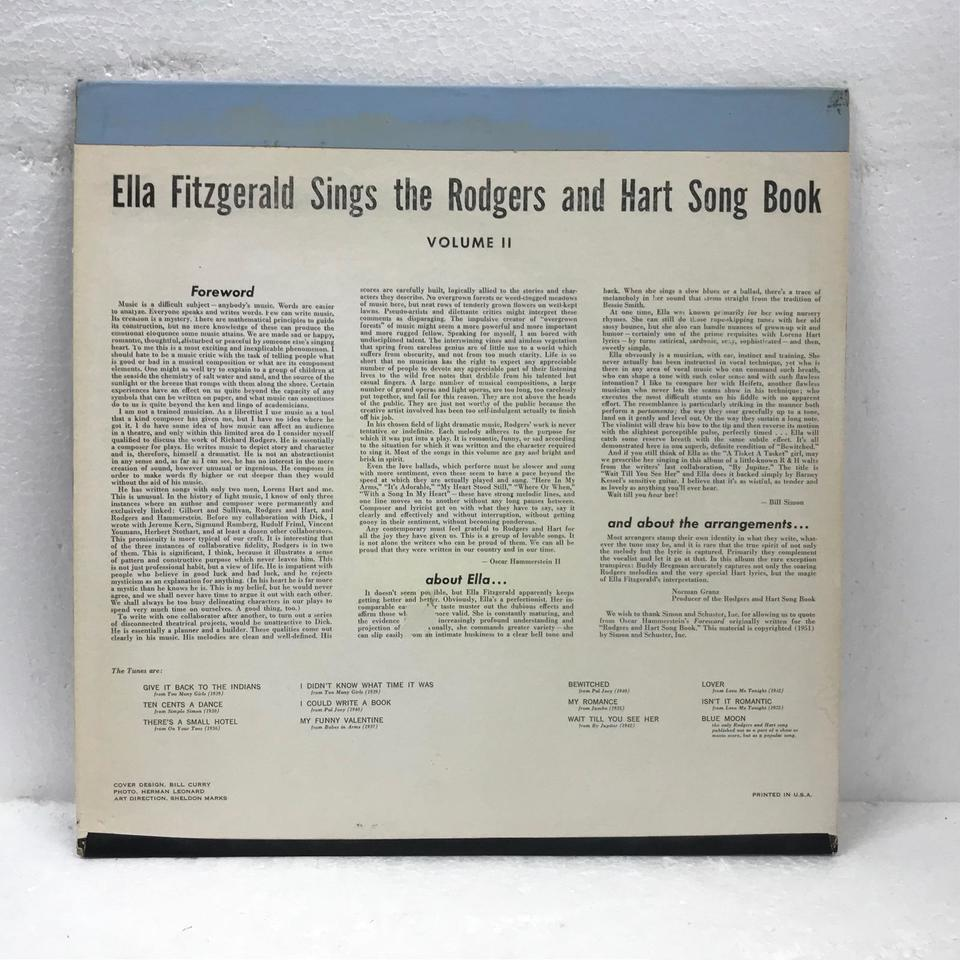 SINGS THE RODGERS AND HART SONGBOOK VOLUME 2/ELLA FITZGERALD ELLA FITZGERALD 画像