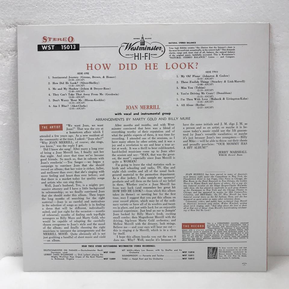 HOW DID HE LOOK ?/JOAN MERRILL JOAN MERRILL - 中古オーディオ 高価 ...