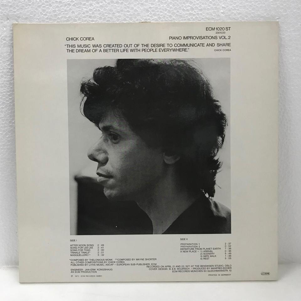 PIANO IMPROVISATIONS VOL.2/CHICK COREA CHICK COREA 画像