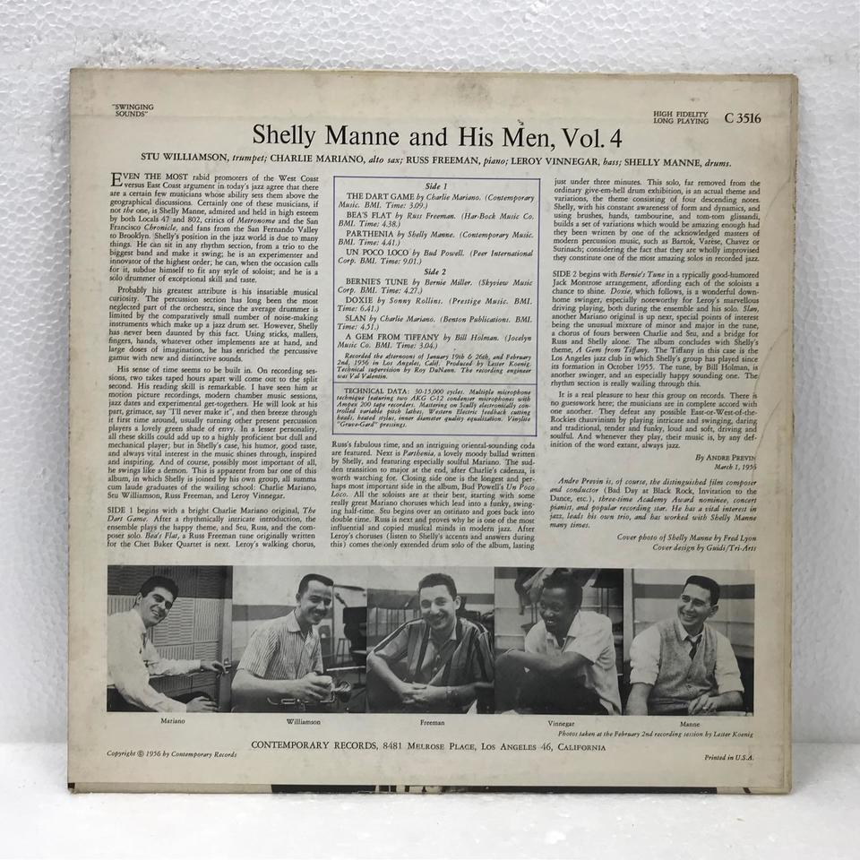 SWINGING SOUNDS/SHELLY MANNE & HIS MEN,VOL.4 SHELLY MANNE 画像
