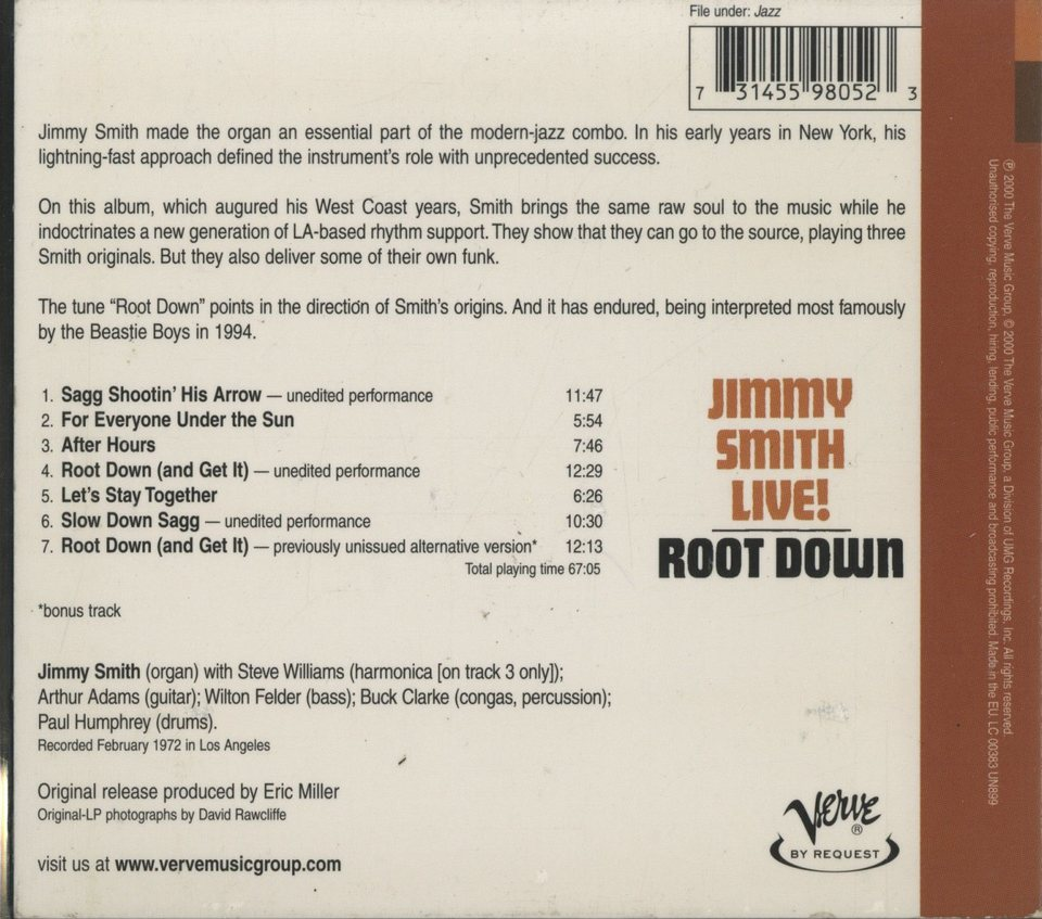 ROOT DOWN/JIMMY SMITH JIMMY SMITH 画像