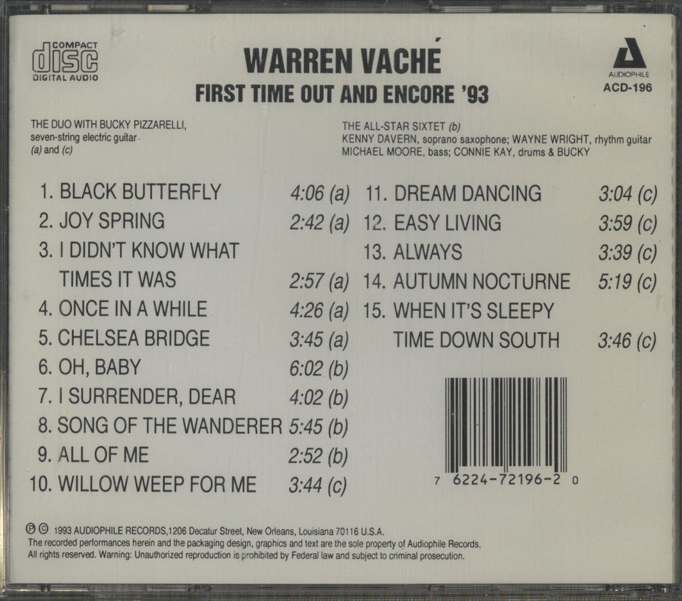 FIRST TIME OUT AND ENCORE '93/WARREN VACHE WARREN VACHE 画像