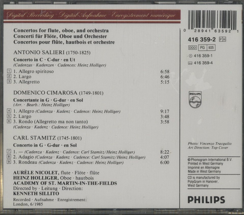 サリエリ/チマローザ/シュターミッツ:フルートとオーボエのための協奏曲 サリエリ/チマローザ/シュターミッツ 画像