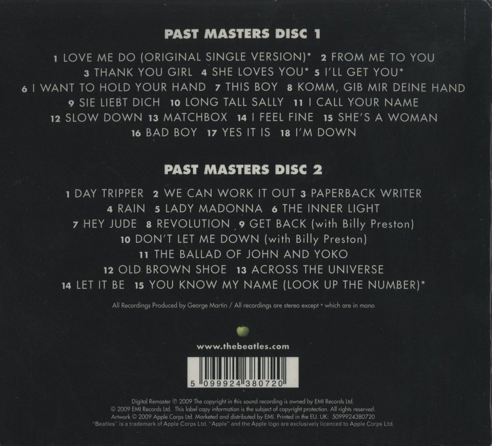 PAST MASTERS/THE BEATLES THE BEATLES 画像