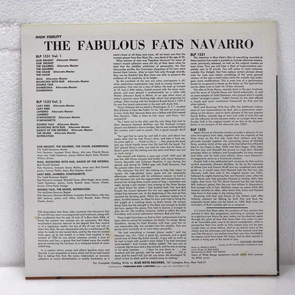 THE FABULOUS FATS NAVARRO VOL.2 FATS NAVARRO 画像