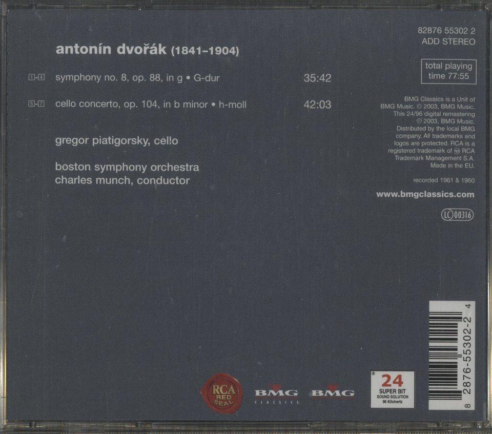 ドヴォルザーク:交響曲第8番、チェロ協奏曲 ドヴォルザーク 画像
