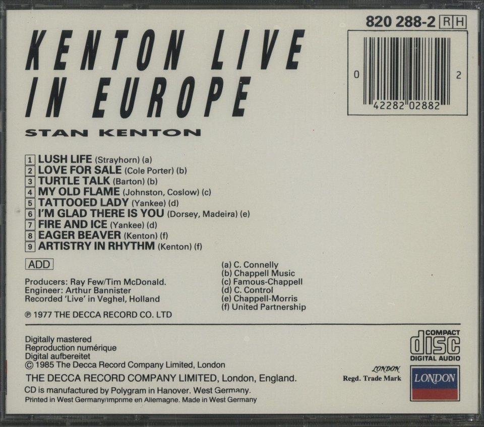 KENTON LIVE IN EUROPE/STAN KENTON STAN KENTON 画像