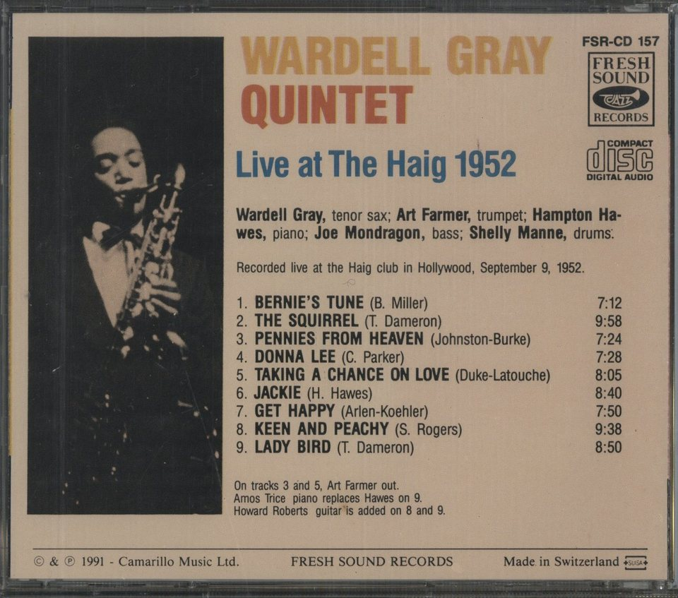 LIVE AT THE HAIG 1952/WARDELL GRAY WARDELL GRAY 画像