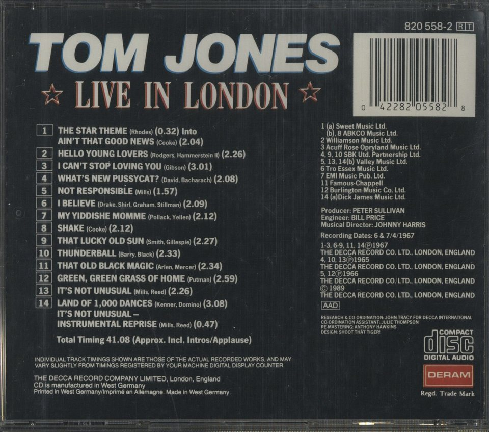 LIVE IN LONDON/TOM JONES TOM JONES 画像