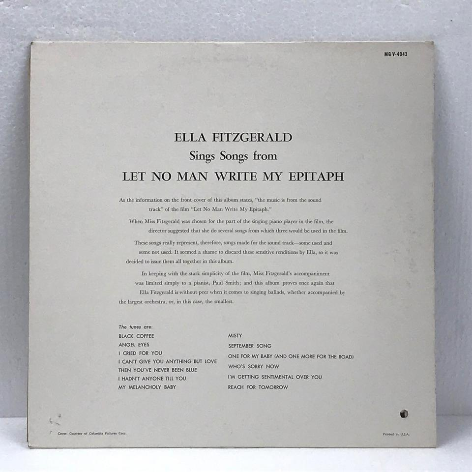 ELLA FITZGERALD SINGS SONGS FROM LET NO MAN WRITE MY EPITAPH ELLA FITZGERALD 画像