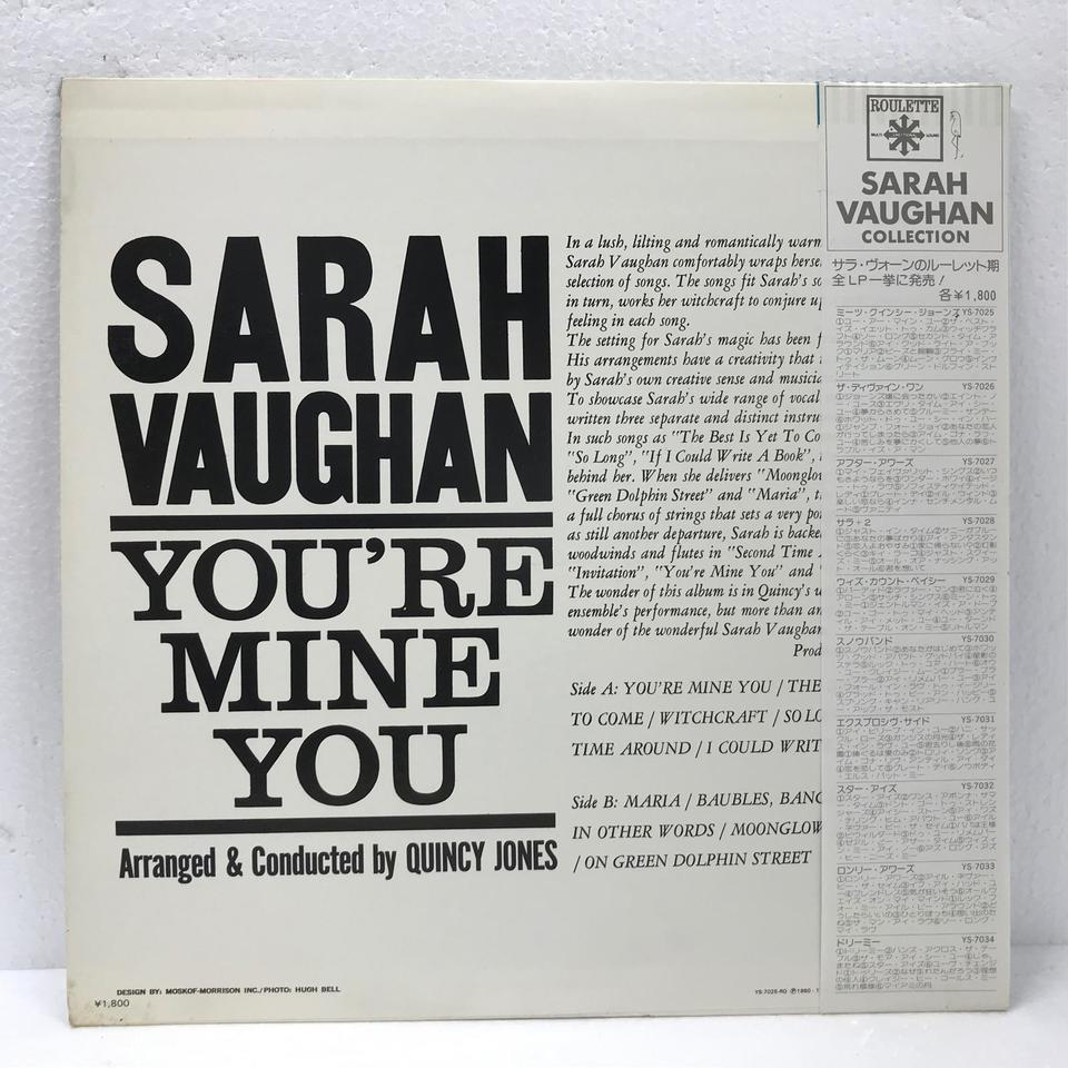 YOU'RE MINE YOU/SARAH VAUGHAN SARAH VAUGHAN 画像