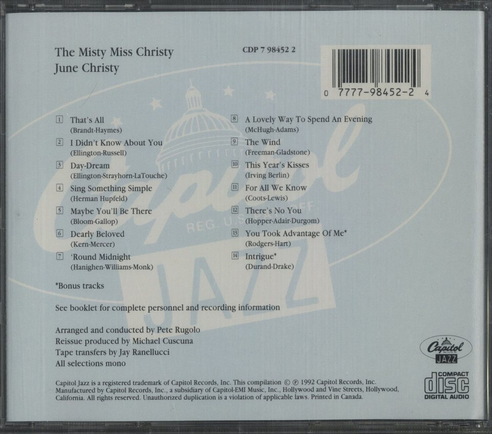 THE MISTY MISS CHRISTY/JUNE CHRISTY JUNE CHRISTY 画像
