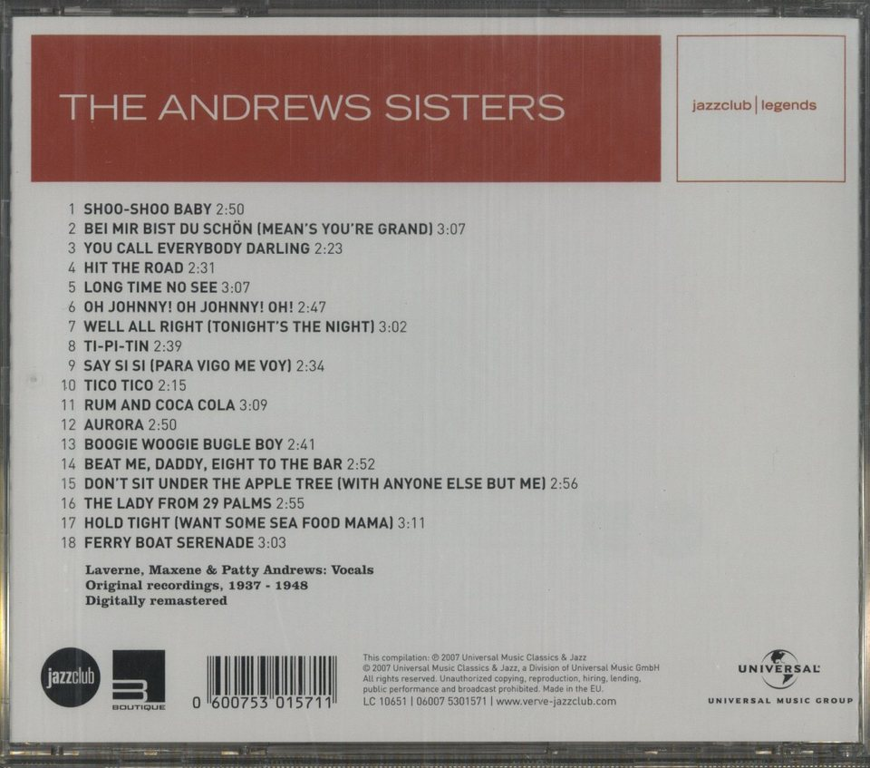 THE ANDREWS SISTERS THE ANDREWS SISTERS 画像