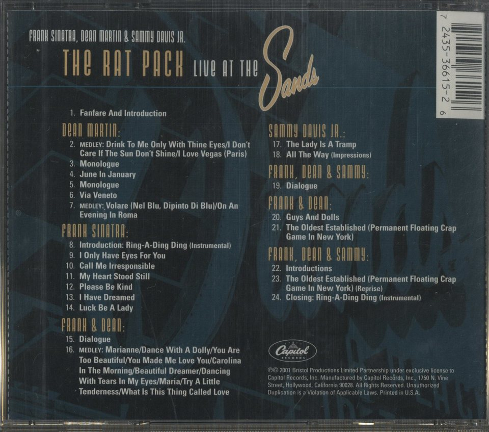 THE RAT PACK LIVE AT THE SANDS THE RAT PACK 画像