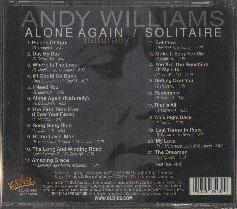 ALONE AGAIN(NATURALLY)+SOLITAIRE/ANDY WILLIAMS ANDY WILLIAMS 画像