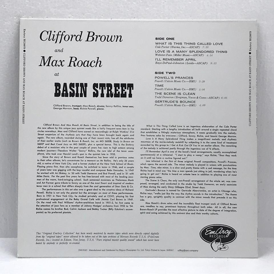 CLIFFORD BROWN AND MAX ROACH AT BASIN STREET CLIFFORD BROWN 画像