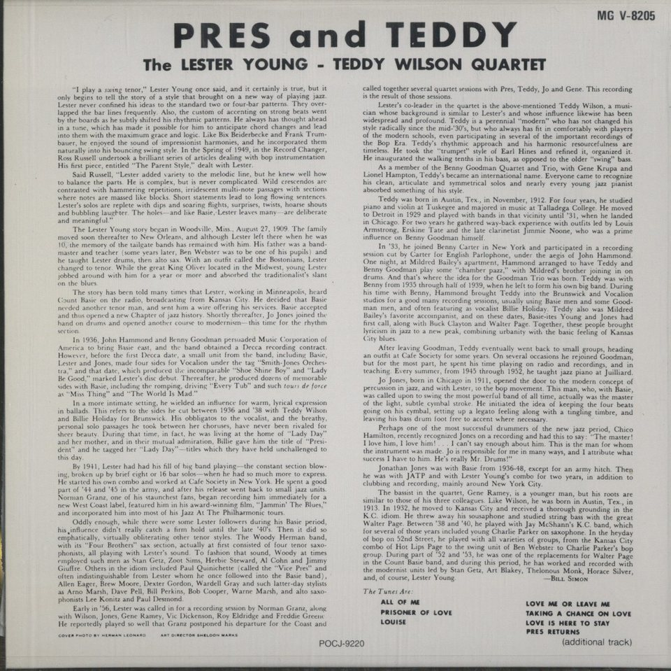 PRES AND TEDDY/LESTER YOUNG LESTER YOUNG 画像