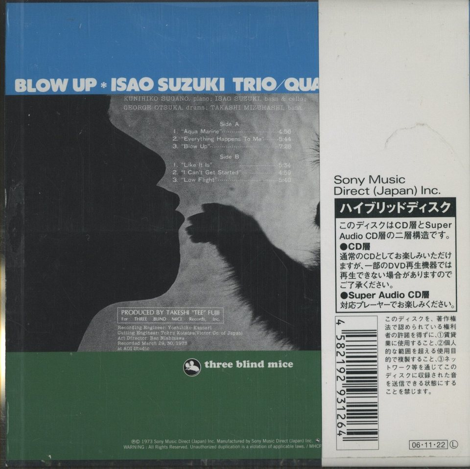BLOW UP/SUZUKI ISAO TRIO 鈴木勲 画像