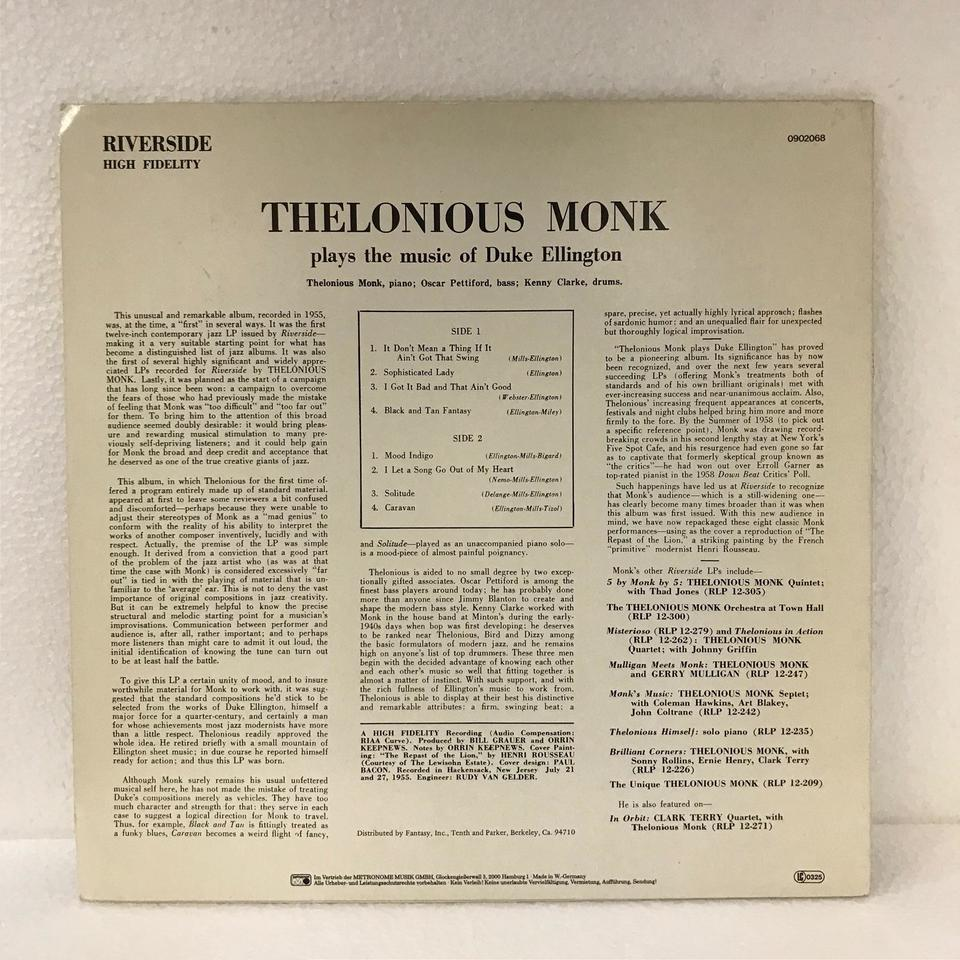 PLAYS THE MUSIC OF DUKE ELLINGTON/THELONIOUS MONK THELONIOUS MONK 画像