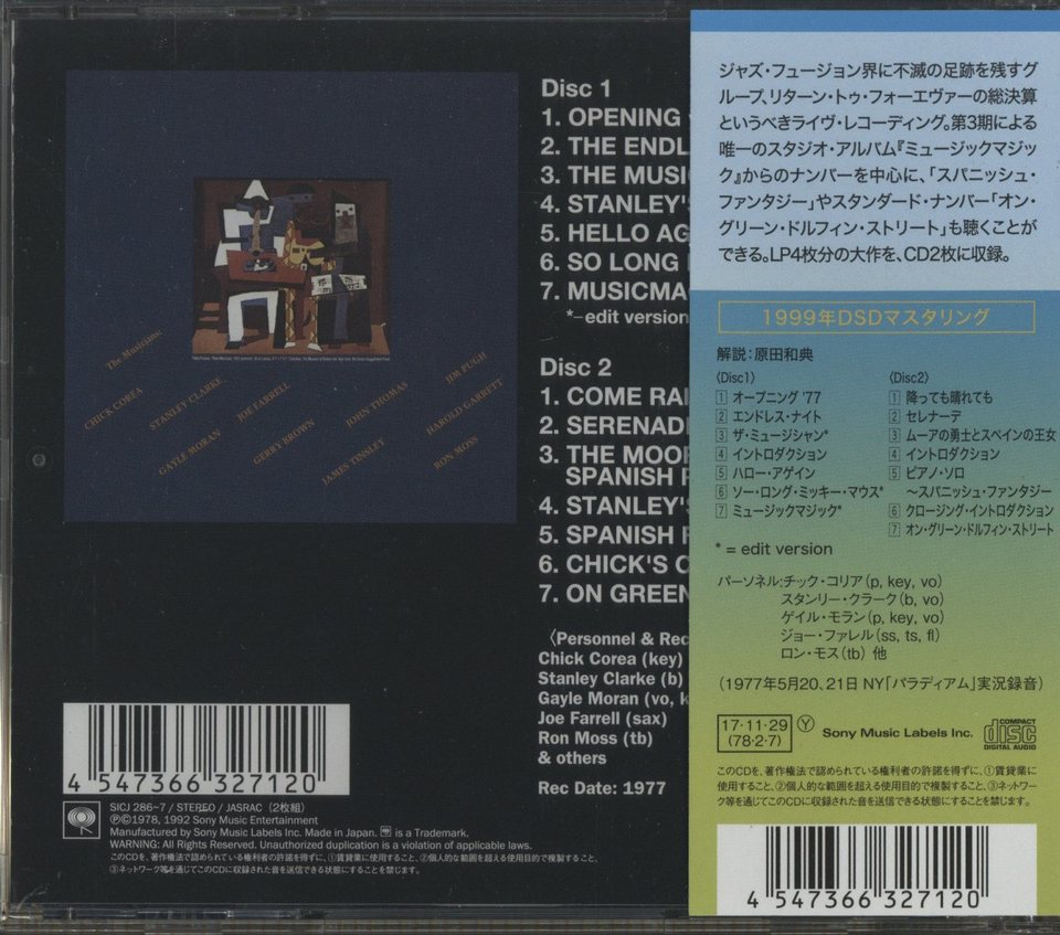 LIVE THE COMPLETE CONCERT/RETURN TO FOREVER RETURN TO FOREVER 画像