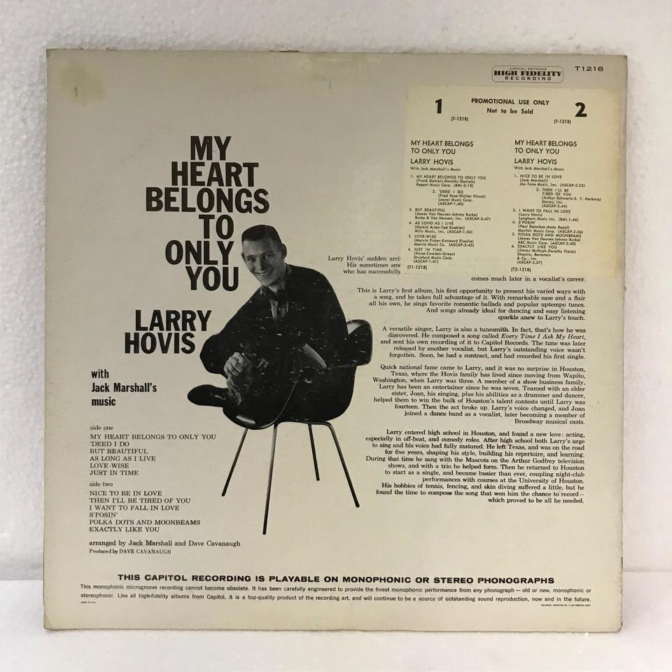 MY HEART BELONGS TO ONLY YOU/LARRY HOVIS LARRY HOVIS 画像
