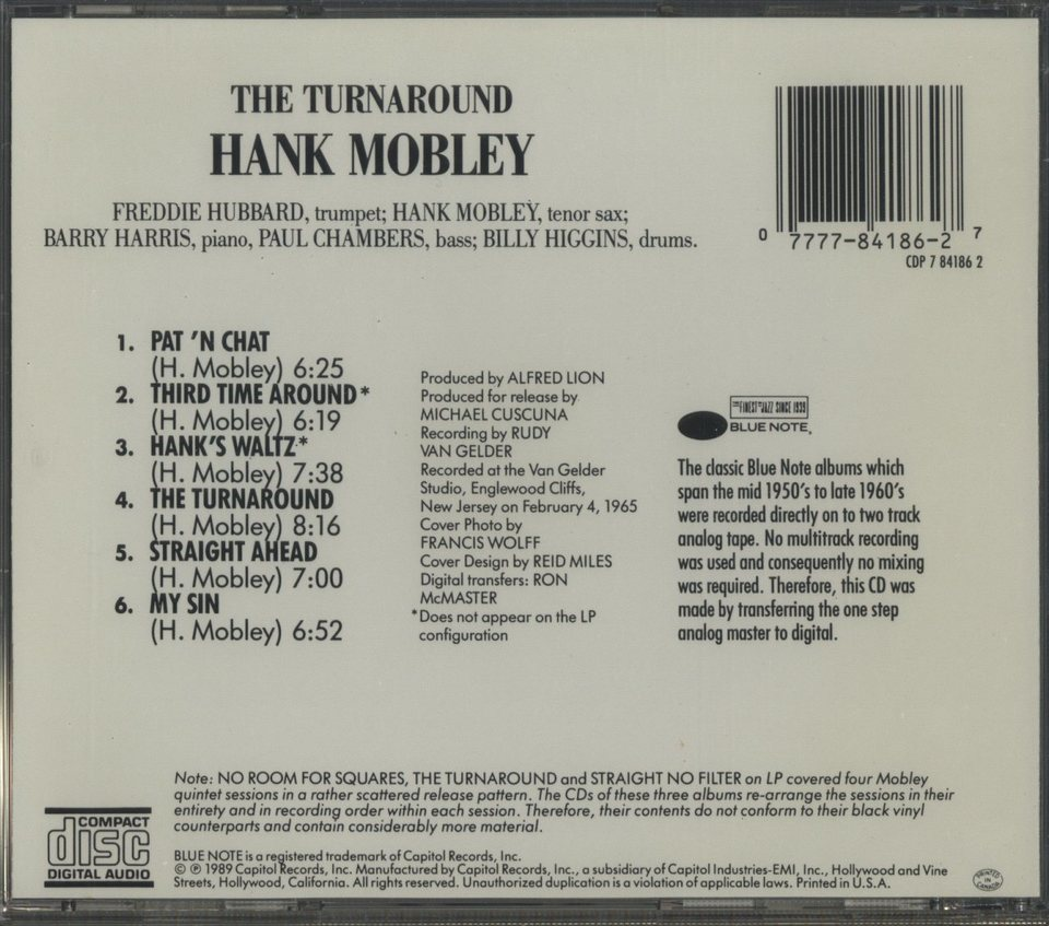 THE TURNAROUND/HANK MOBLEY HANK MOBLEY 画像